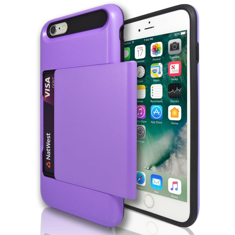 iPhone 6 Plus / 6S - Slide Out Card Holder Silicone Case- Purple