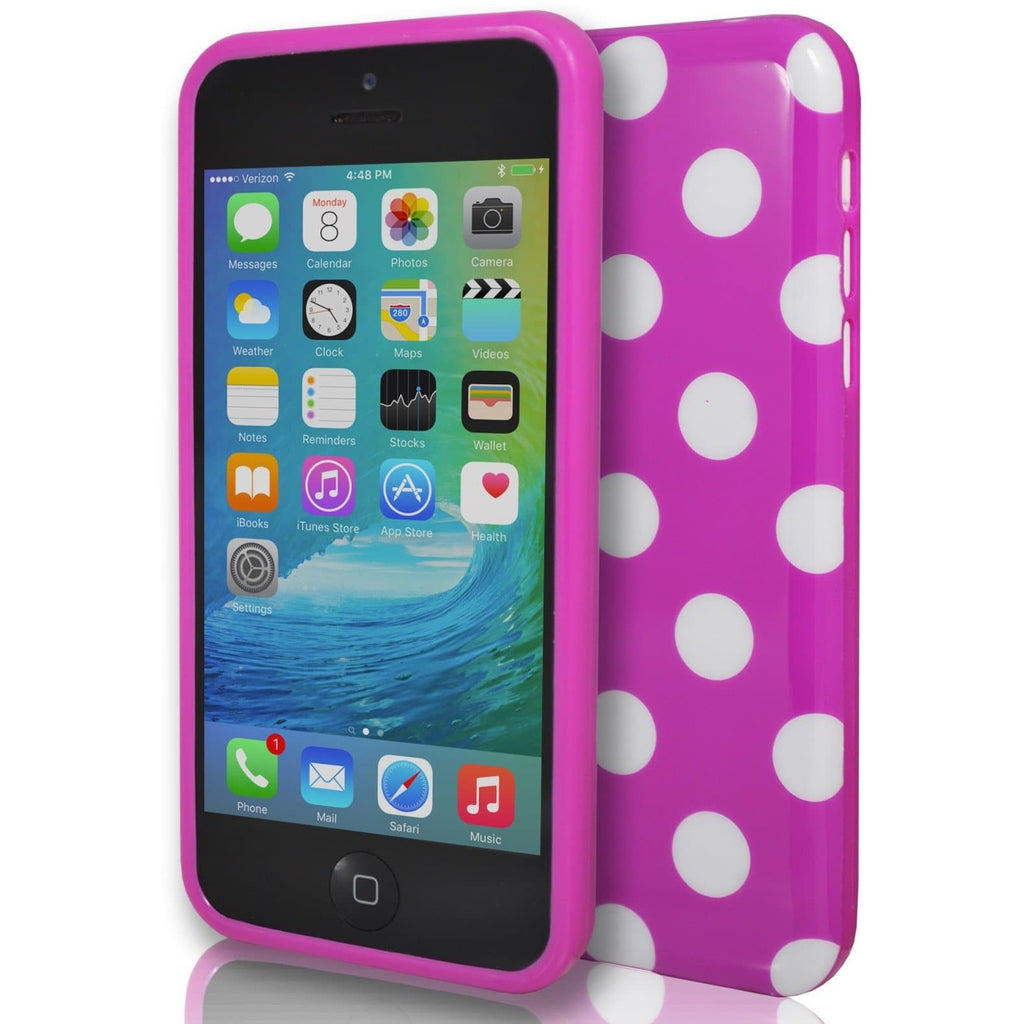 iPhone 5C- Polka Dot Soft Gel Silicone Case Cover - Pink
