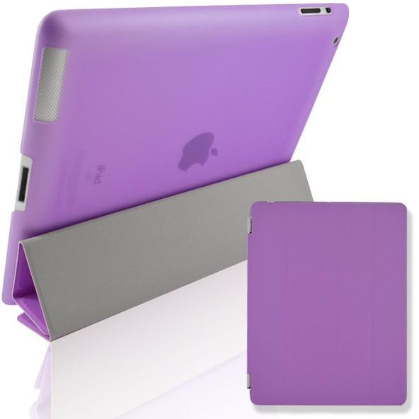 Purple Leather Magnetic Full Smart Cover + Hard Back Case Stand With Sleep Wake For Apple iPad Air