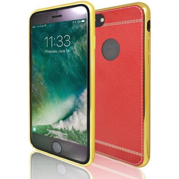 iPhone 8 Plus - Protective Leather Look Silicone Case With Bumper - Yellow And Red