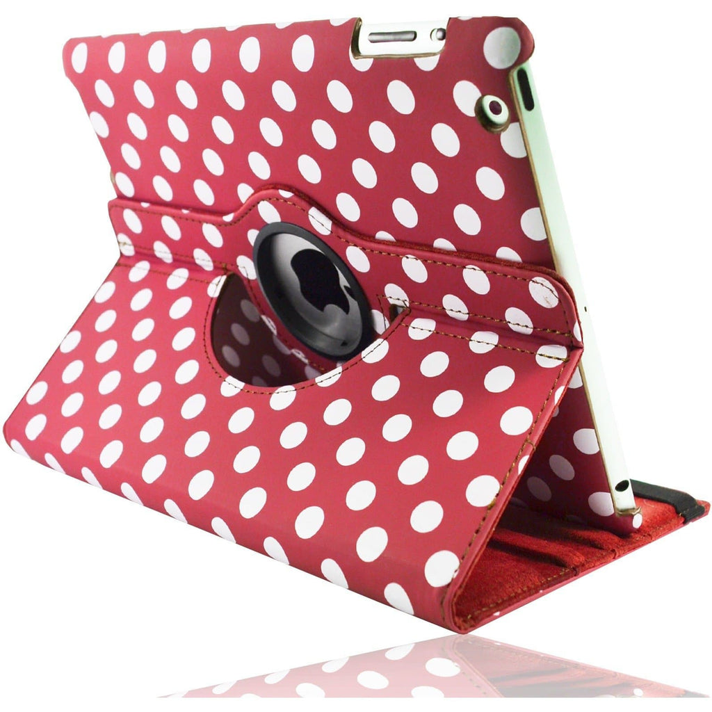 Apple iPad 2 / 3 / 4 - Polka Dot Pu Leather Book Flip Stand Case - Red