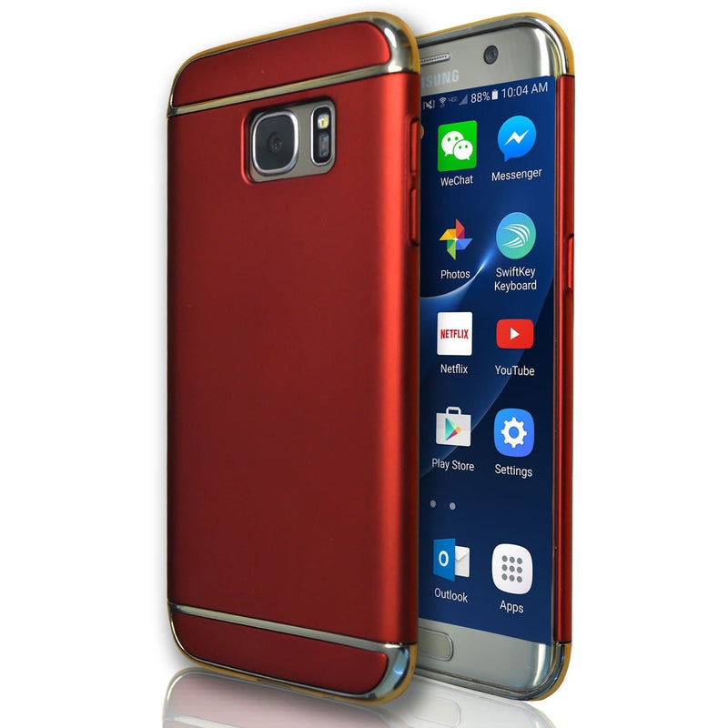 Samsung Galaxy S7 Edge Metal Look Plastic Case - Red