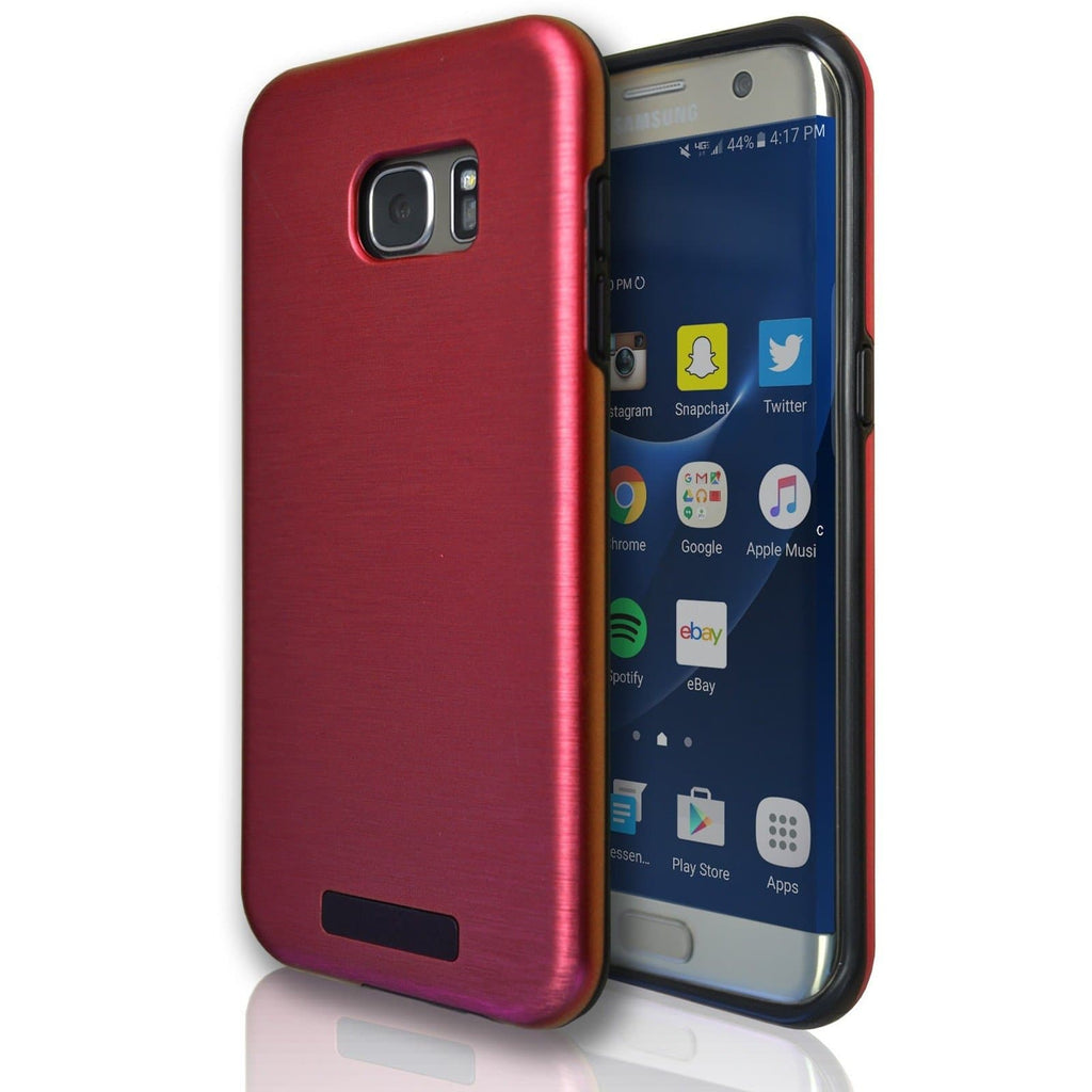 Samsung Galaxy S7 Edge Protective Brushed Silicone Case - Red