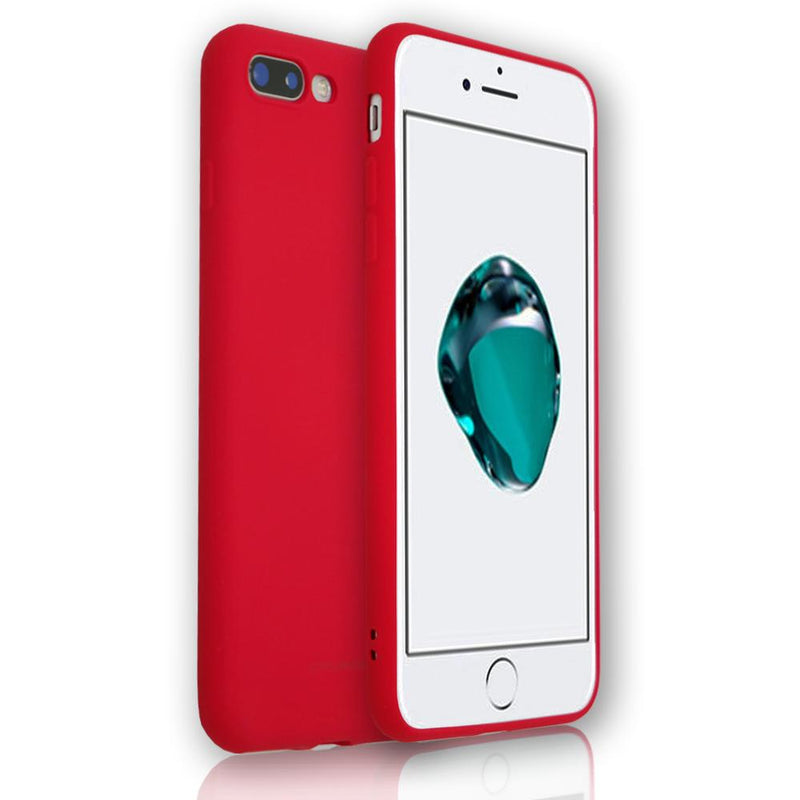 Apple iPhone 8 Plus - Soft Touch Silicone Rear Surround Case - Red