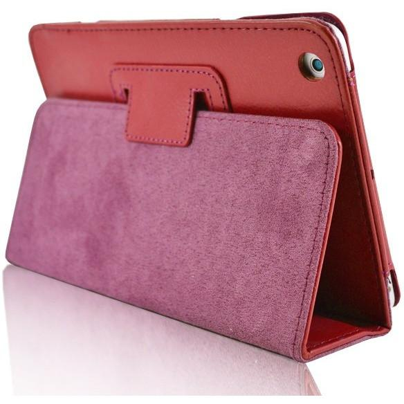 Red Leather Case Stand For iPad Mini With Magnetic Sleep Wake Function