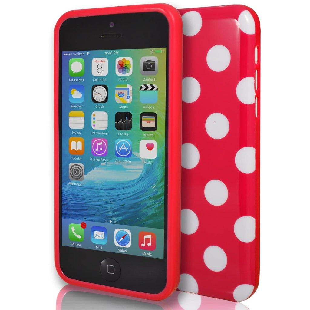 Red Polka Dot Gel Silicone Rubber Case Cover iPhone 5C
