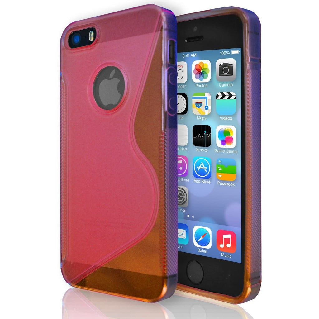 iPhone 5 / 5S / SE - S Line Gel Soft Silicone Case With Hole For Apple Logo - Red