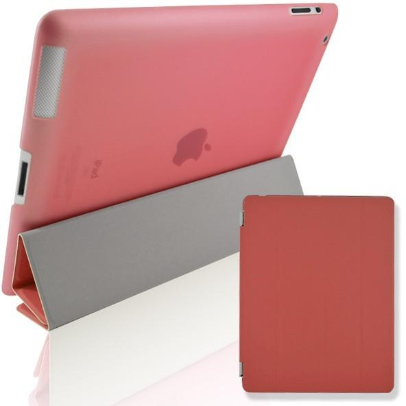 iPad 2 / 3 / 4 - Magnetic Slim Flip Cover & Hard Back Stand - Red