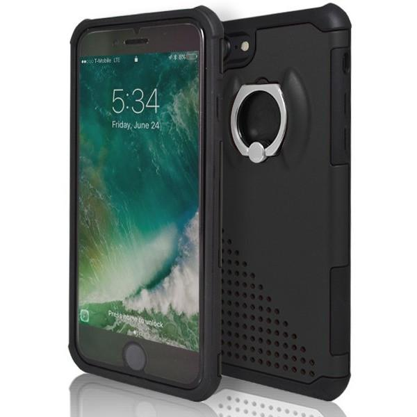 iPhone 7 Plus- Ring Pull 360 Degree Stand Silicone Case - Black