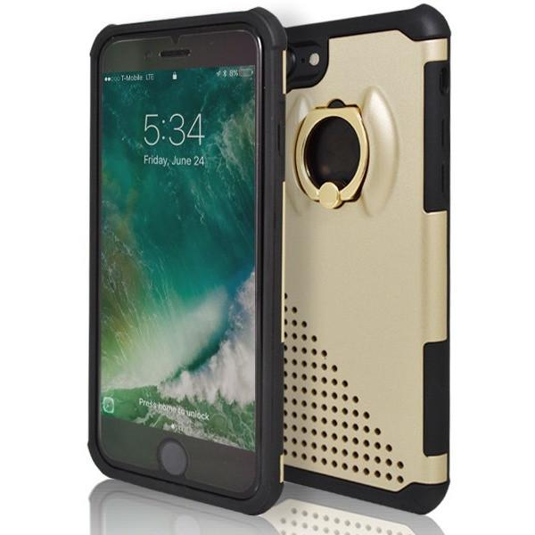iPhone 7- Ring Pull 360 Degree Stand Silicone Case - Gold