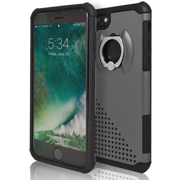 iPhone 8 Plus- Ring Pull 360 Degree Stand Silicone Case - Grey