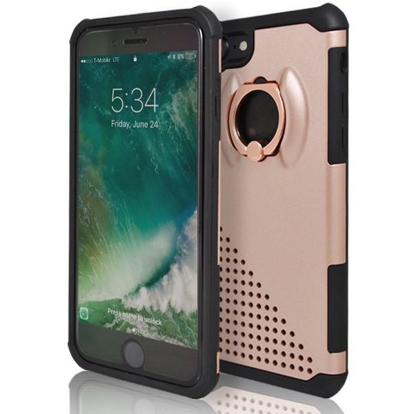 iPhone 7- Ring Pull 360 Degree Stand Silicone Case - Rose Gold