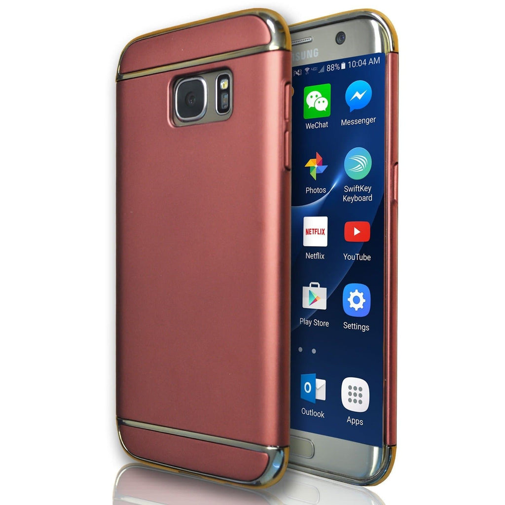 Samsung Galaxy S7 Metal Look Plastic Case - Rose Gold