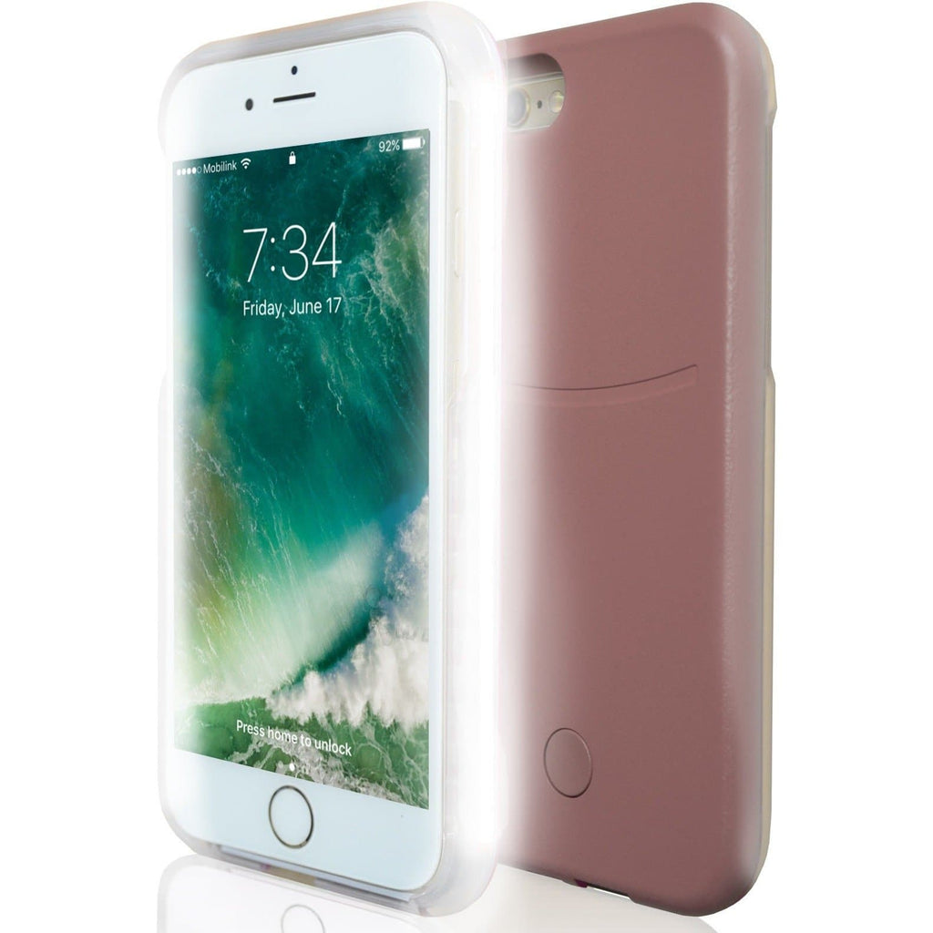 Apple iPhone 8 Plus Luxury LED Selfie Light Up Case - Rose Gold