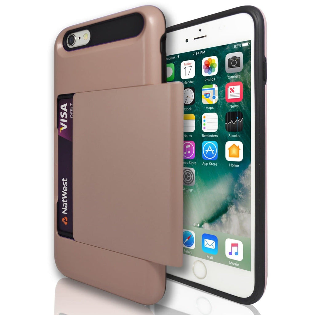Apple iPhone 6 / 6S Slide Card Holder Silicone Case - Rose Gold