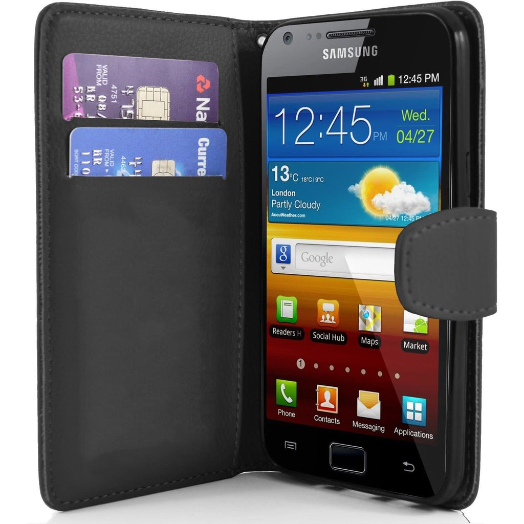 Black Wallet Pu Leather Case For Samsung Galaxy S2 I9100