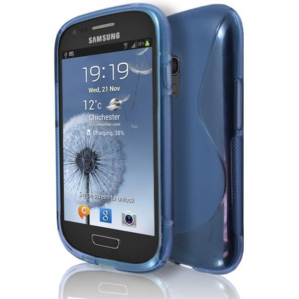 Samsung Galaxy S3 Mini (I8190) - Blue S Line Gel Silicone Rubber Case Cover