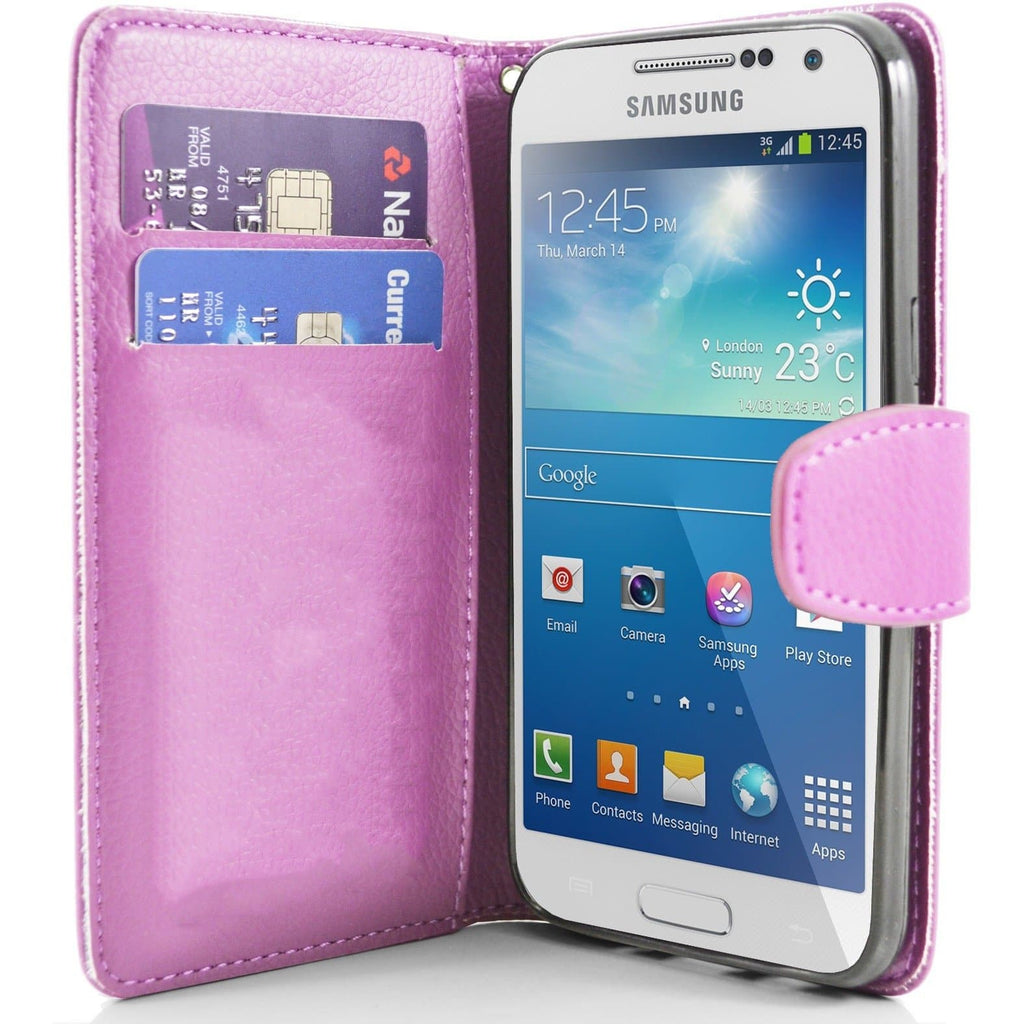 Pink Samsung Galaxy S4 Mini PU Leather Wallet Cover Case