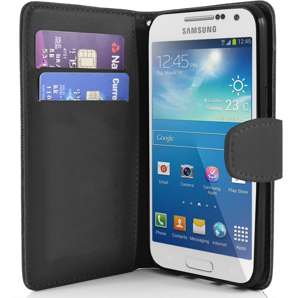 Black Pu Flip Wallet Leather Case For Samsung Galaxy S4 Mini (I9190)