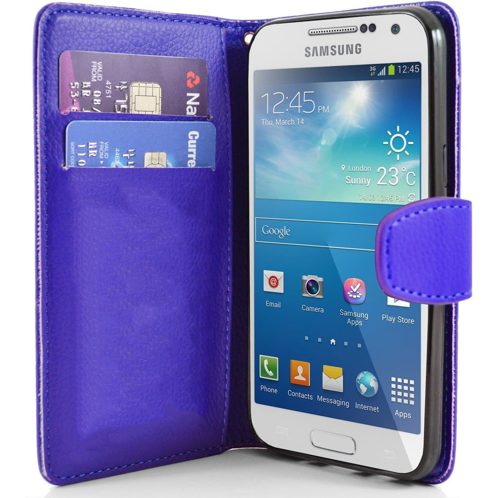 Dark Blue Pu Flip Wallet Leather Cover Case For Samsung Galaxy S4 Mini