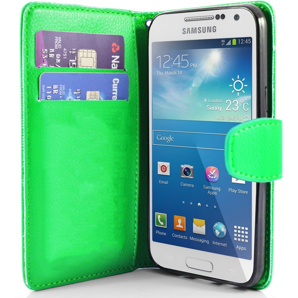Green Pu Flip Wallet Leather Case For Samsung Galaxy S4 Mini (I9190)