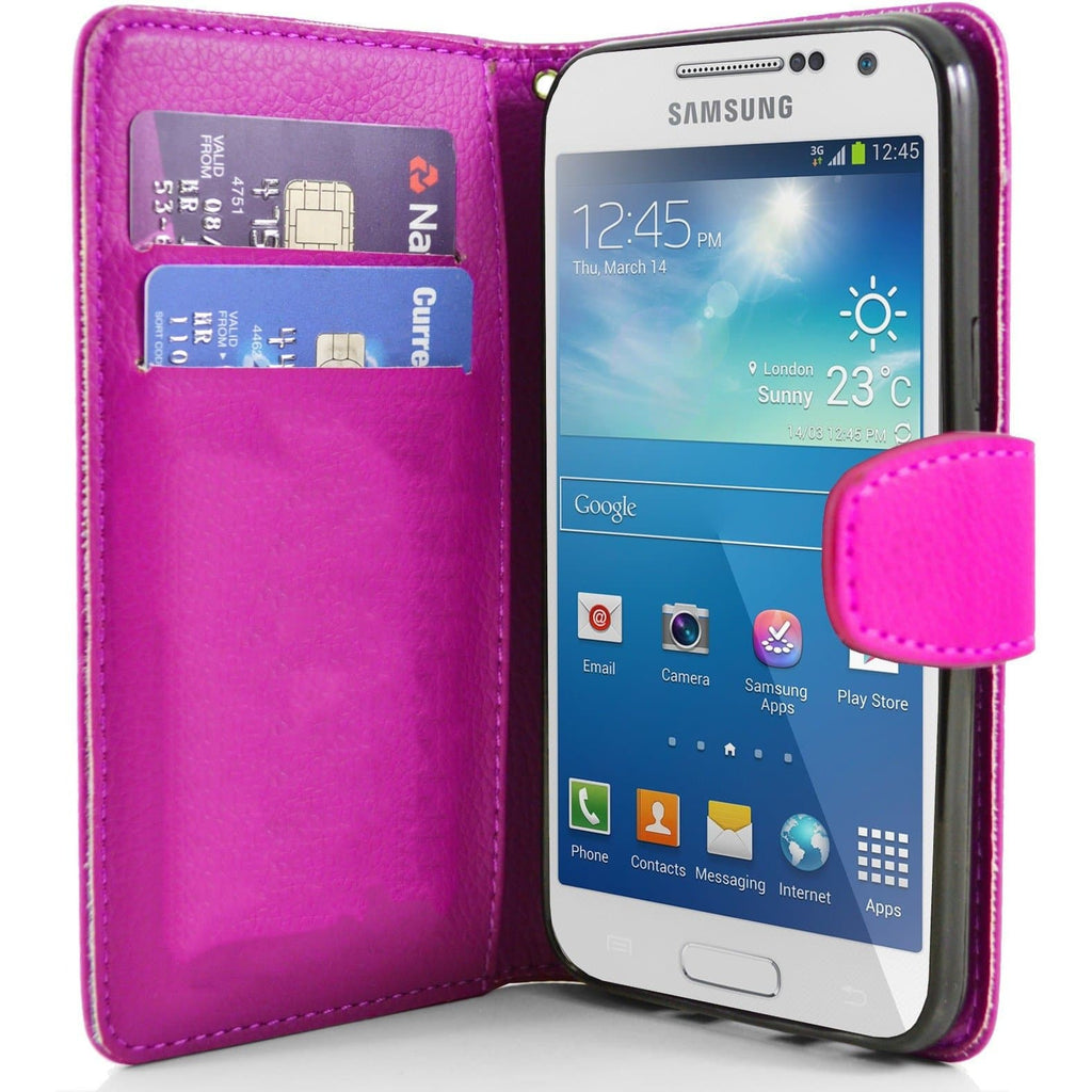 Hot Pink Pu Flip Wallet Leather Case For Samsung Galaxy S4 Mini (I9190)