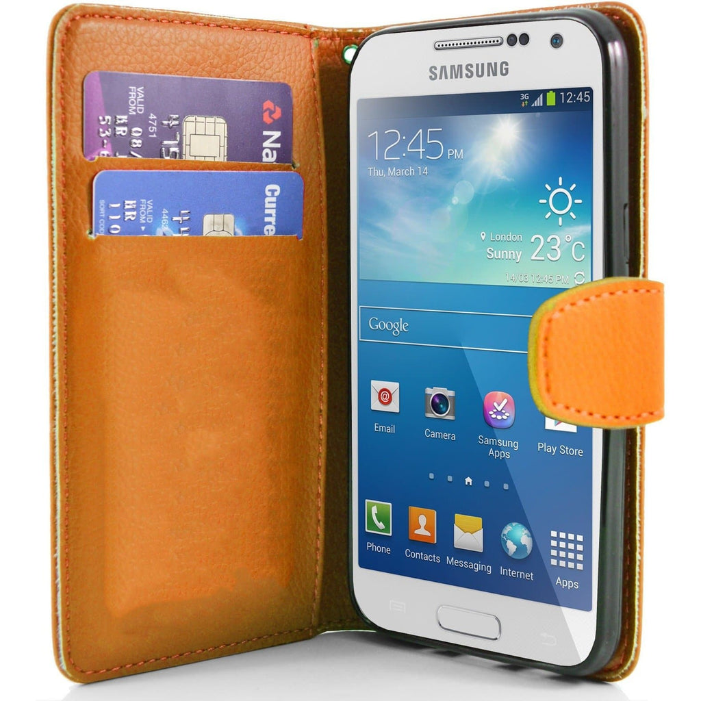 Orange Samsung Galaxy S4 Mini PU Leather Wallet Cover Case