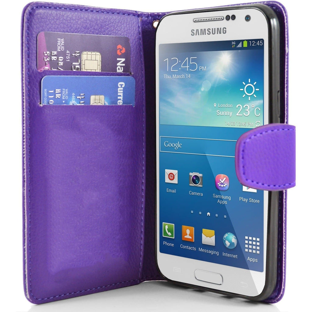 Purple Pu Flip Wallet Leather Cover Case For Samsung Galaxy S4 Mini