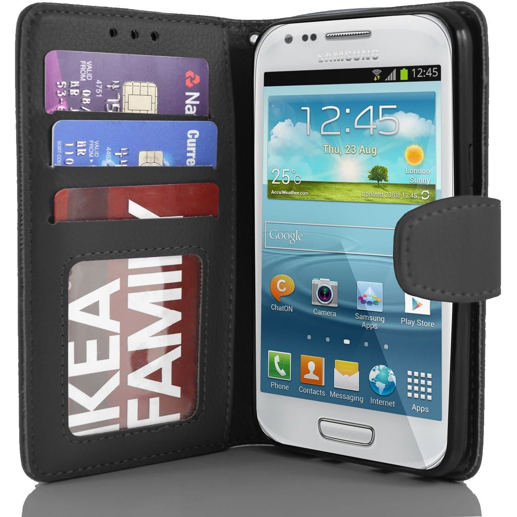 Samsung Galaxy S4 Mini PU Leather Wallet Case - Black