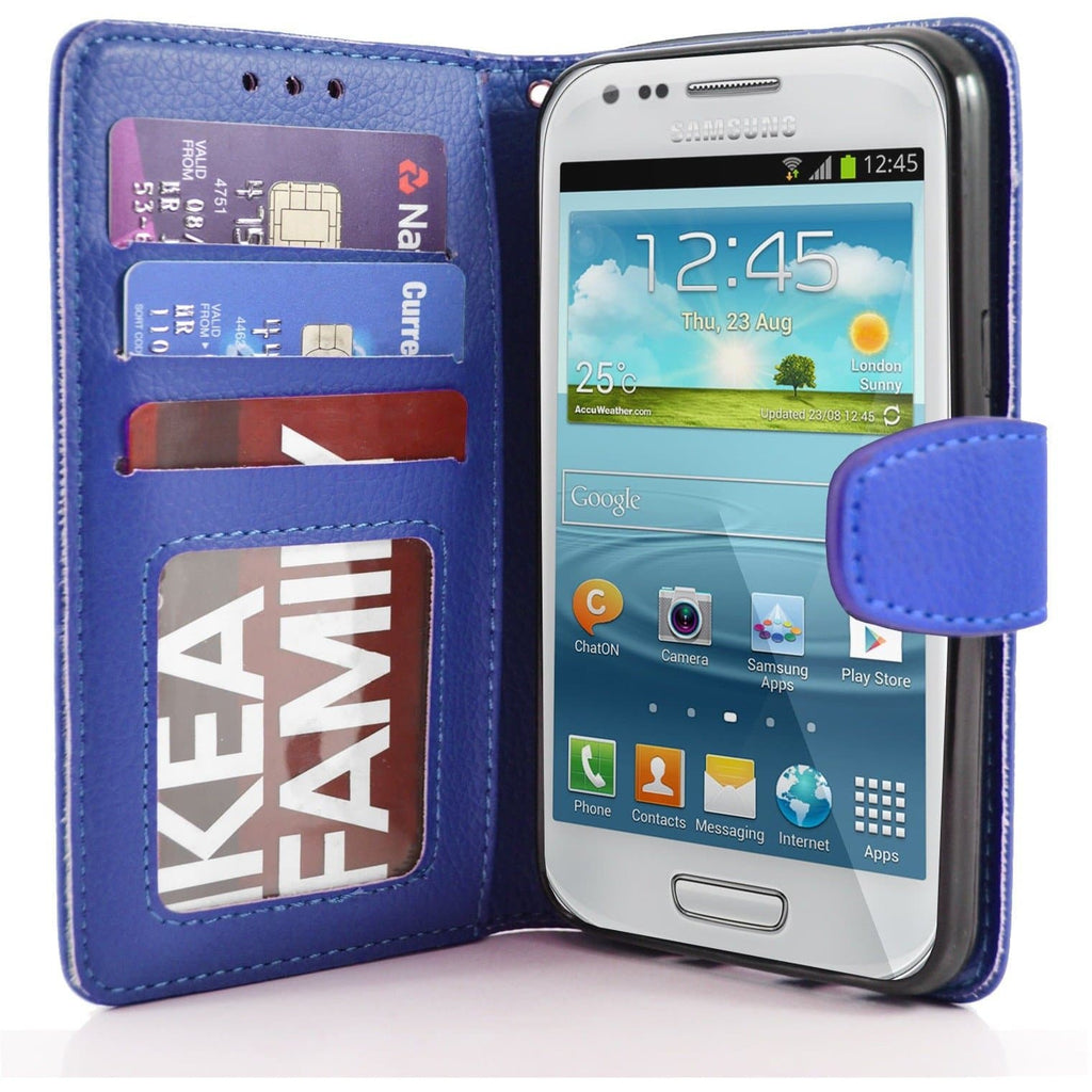 Samsung Galaxy S4 Mini PU Leather Wallet Case - Blue