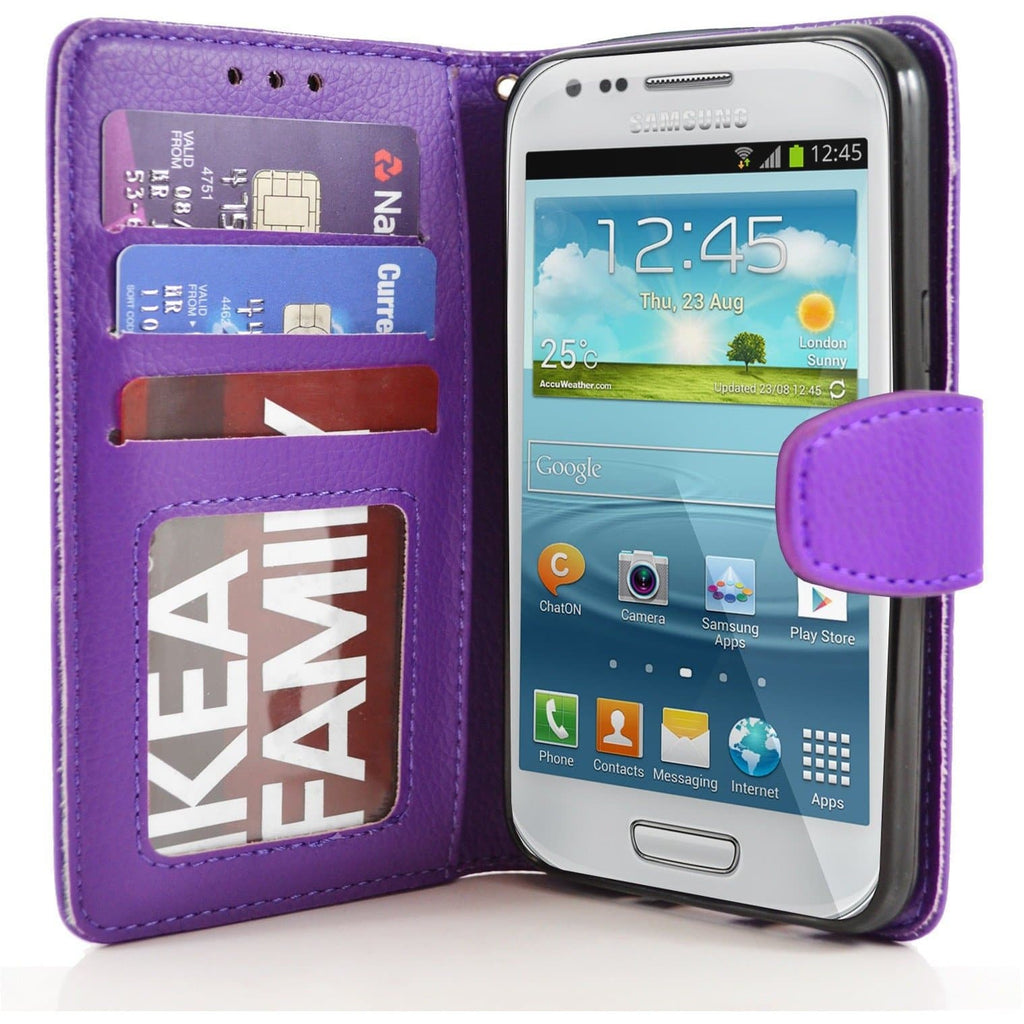 Samsung Galaxy S4 Mini PU Leather Wallet Cover Case - Purple