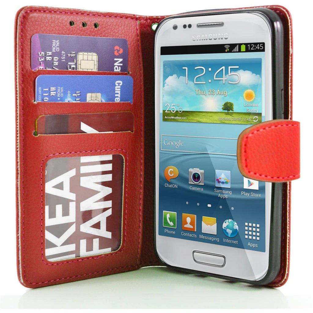 Samsung Galaxy S4 Mini PU Leather Wallet Case - Red
