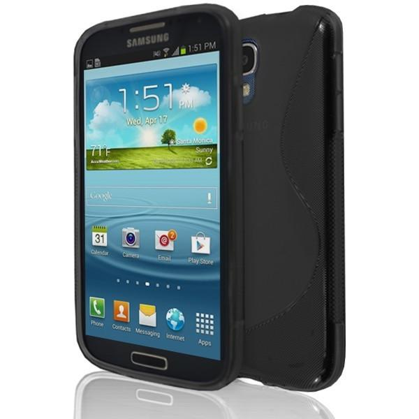Samsung Galaxy S4 (I9500)- Black S Line Gel Silicone Rubber Case Cover