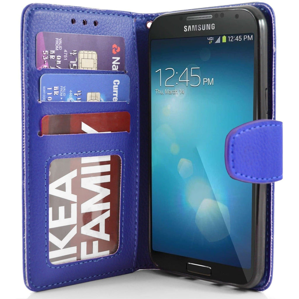 Samsung Galaxy S4 PU Leather Wallet Case - Blue
