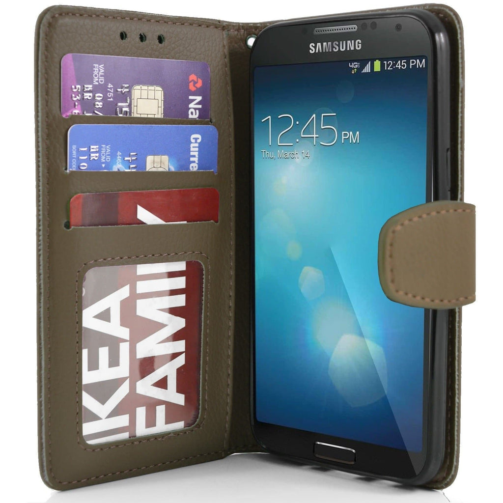Samsung Galaxy S4 PU Leather Wallet Case - Brown
