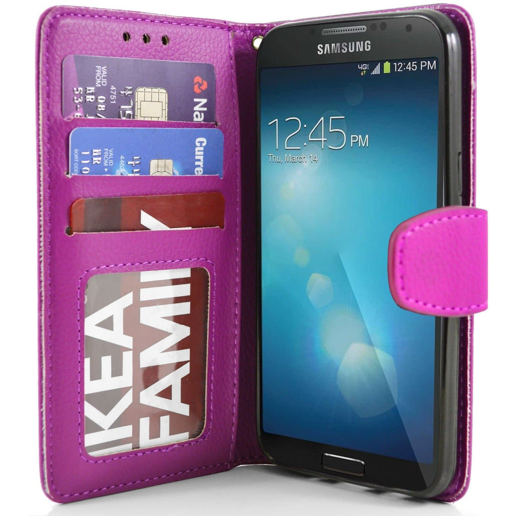 Samsung Galaxy S4 PU Leather Wallet Case - Pink