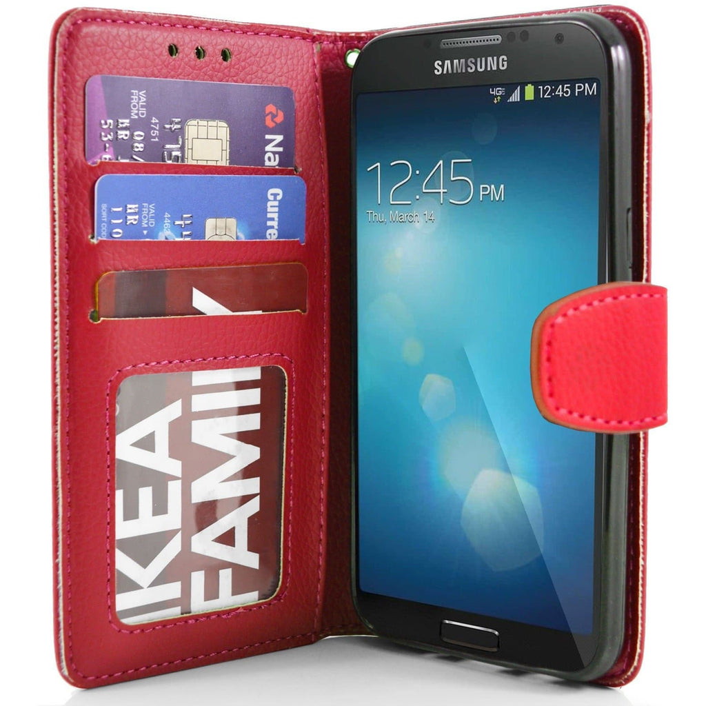 Samsung Galaxy S4 PU Leather Wallet Case - Red