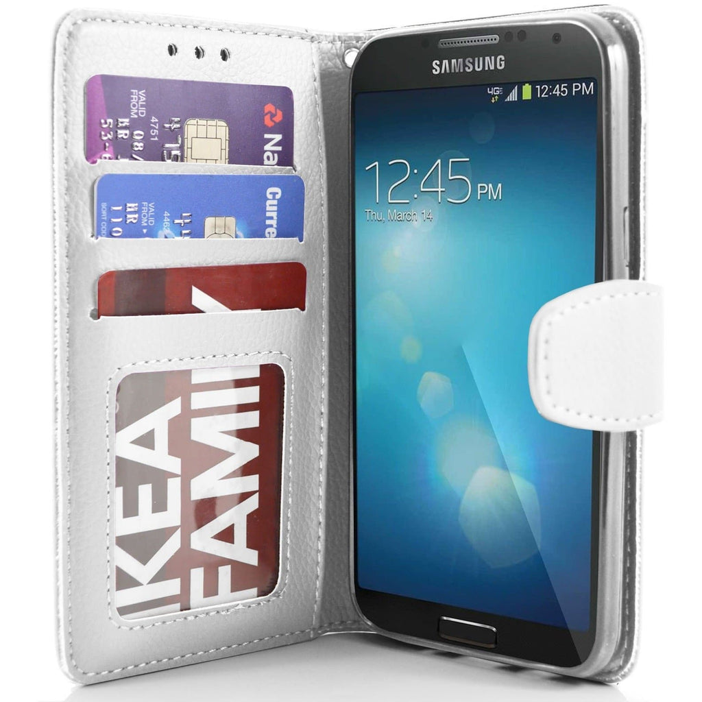 Samsung Galaxy S4 PU Leather Wallet Case - White