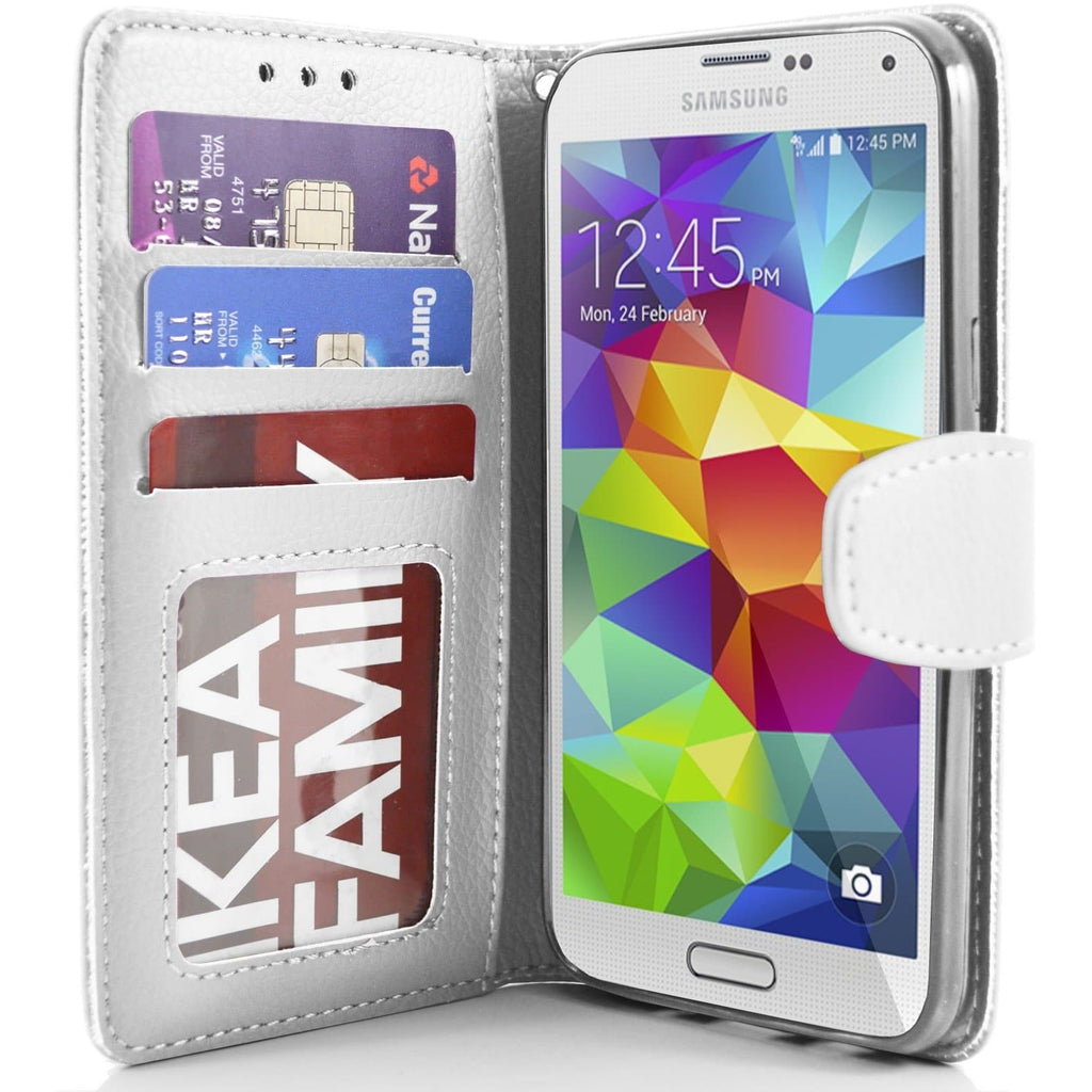 Samsung Galaxy S5 (I9600) Flip Wallet Pu Leather Case - White