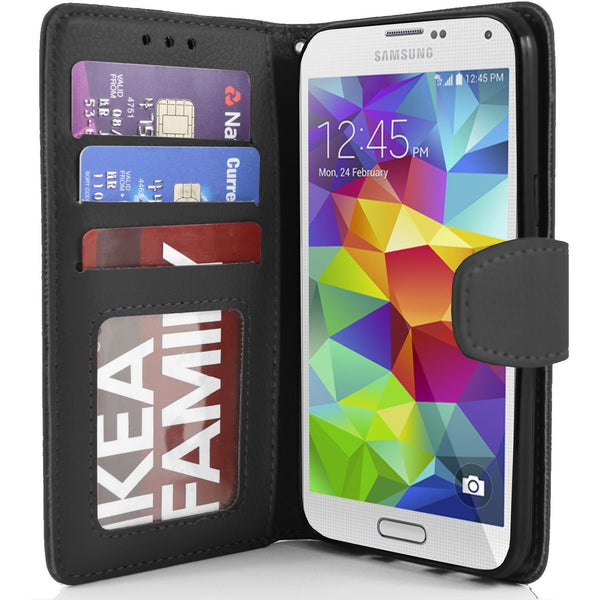 Black Flip Wallet Pu Leather Case For Samsung Galaxy S5 (I9600)