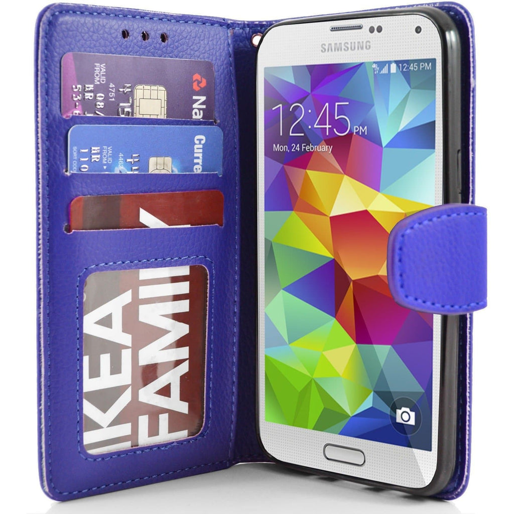 Blue Flip Wallet Pu Leather Case For Samsung Galaxy S5 (I9600)