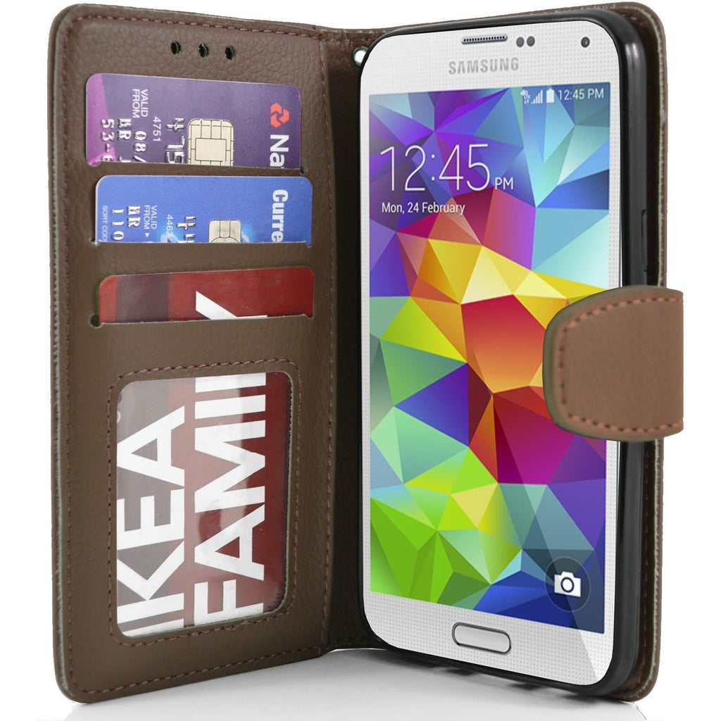Brown Flip Wallet Pu Leather Case For Samsung Galaxy S5 (I9600)