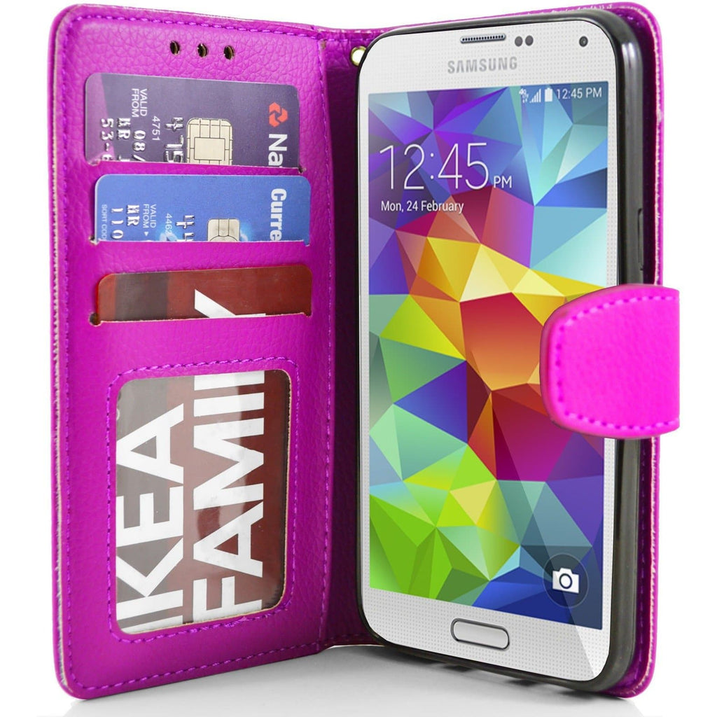 Pink Flip Wallet Pu Leather Case For Samsung Galaxy S5 (I9600)