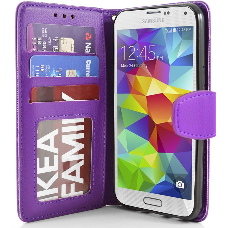 Purple Flip Wallet Pu Leather Case For Samsung Galaxy S5 (I9600)