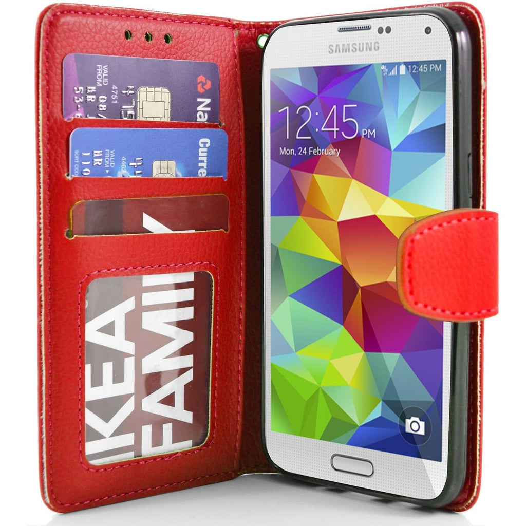 Red Flip Wallet Pu Leather Case For Samsung Galaxy S5 (I9600)