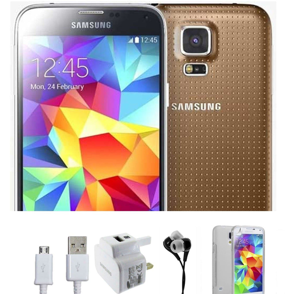 Samsung Galaxy S5 (16GB) - Gold - Factory Unlocked - Grade A Bundle