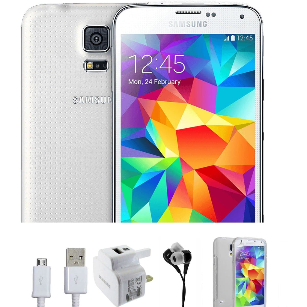 Samsung Galaxy S5 (16GB) - White - Factory Unlocked - Grade A Bundle