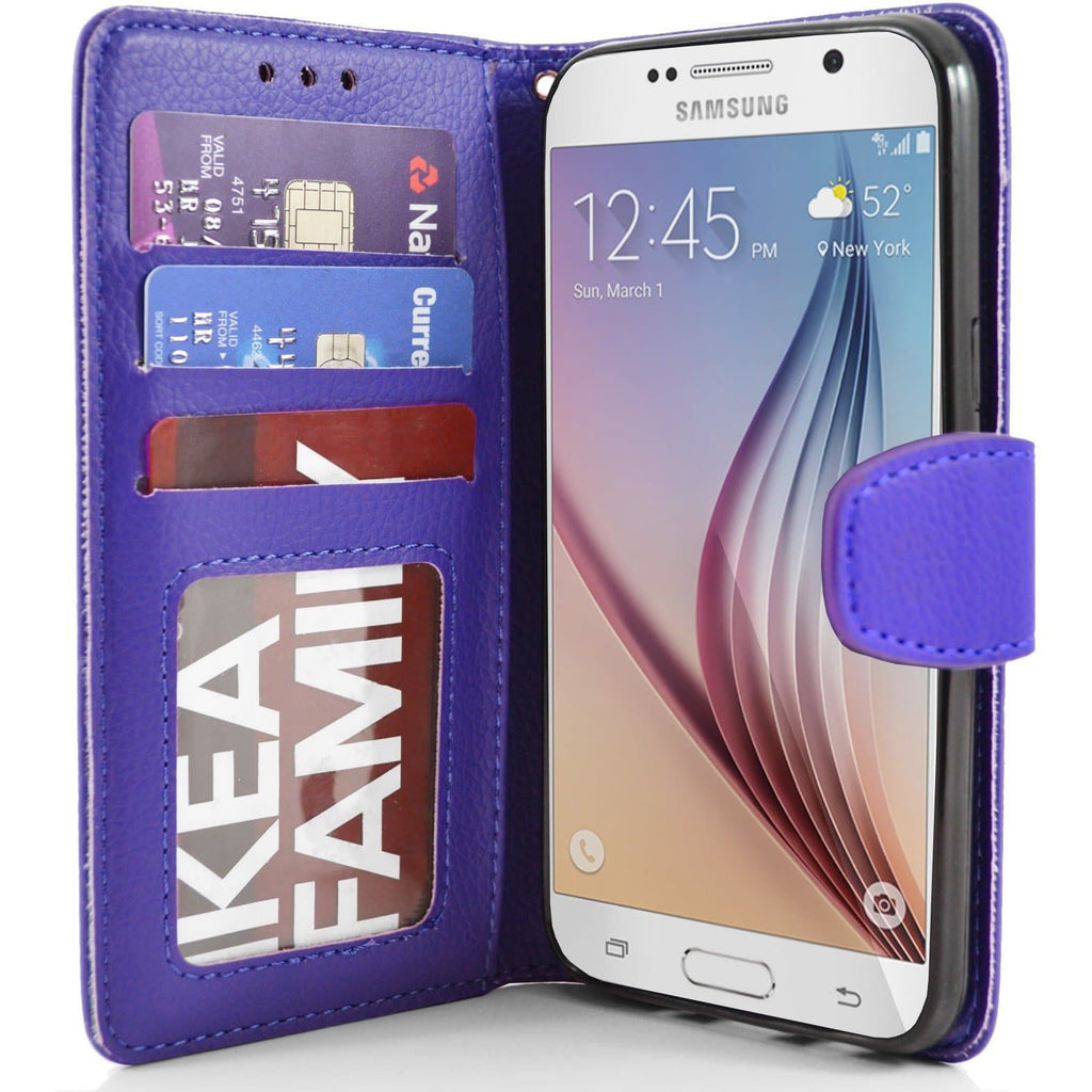 Samsung Galaxy S6 PU Leather Wallet Case - Blue