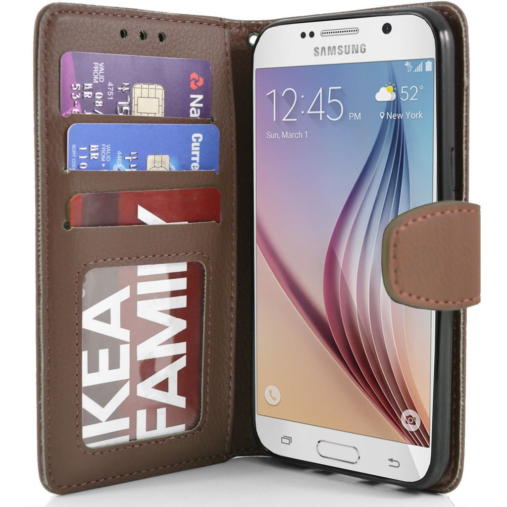 Samsung Galaxy S6 PU Leather Wallet Case - Brown