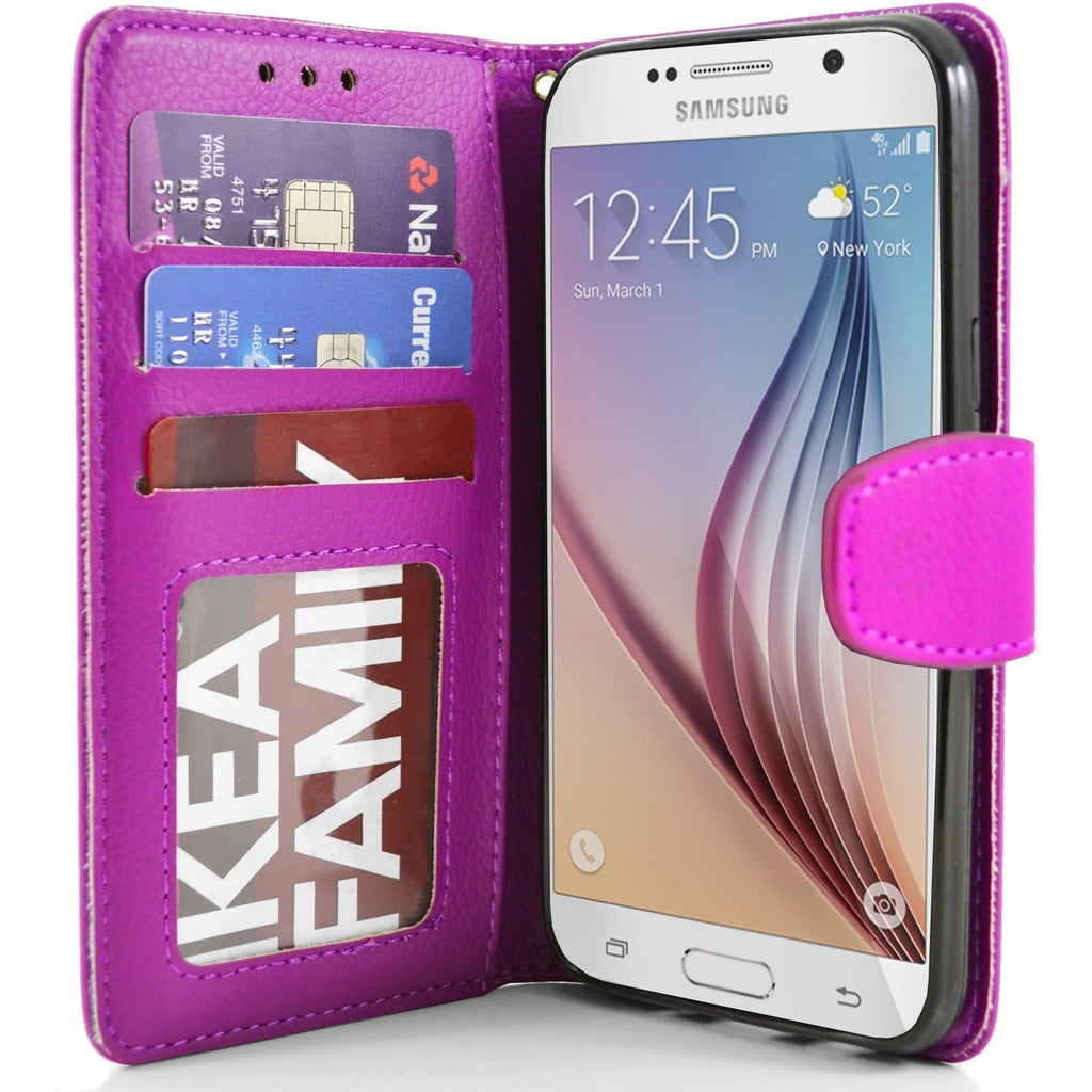 Samsung Galaxy S6 PU Leather Wallet Case - Pink